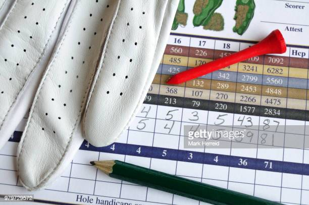 golf score card with glove, pencil, & tee - bringing home the bacon stock photos and pictures