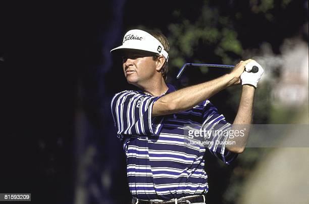 Golf: Shark Shootout, Closeup of Davis Love lll in action, drive on Saturday at Sherwood CC, Thousand Oaks, CA