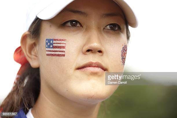 Solheim Cup Closeup of USA Michelle Wie during Saturday Fourball Matches at Rich Harvest Farms Wie with painted American flag on cheek Sugar Grove IL...