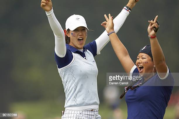 Solheim Cup USA Christina Kim and Michelle Wie victorious during four ball matches during Saturday play at Rich Harvest Farms Sugar Grove IL...