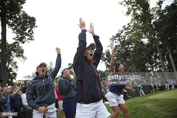 Solheim Cup USA Juli Inkster Brittany Lang Paula Creamer and Christina Kim during foursome matches during Saturday play at Rich Harvest Farms Sugar...