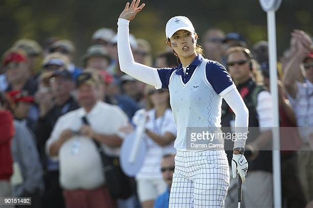 Solheim Cup USA Michelle Wie during four ball matches during Saturday play at Rich Harvest Farms Sugar Grove IL 8/22/2009 CREDIT Darren Carroll