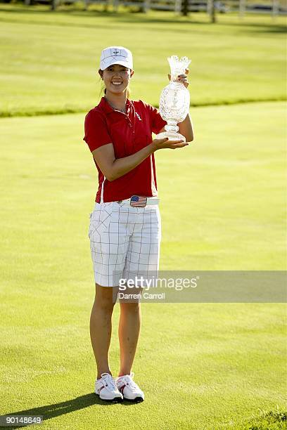 Solheim Cup USA Michelle Wie posing with trophy during closing cermony at Rich Harvest Farms Sugar Grove IL 8/23/2009 CREDIT Darren Carroll