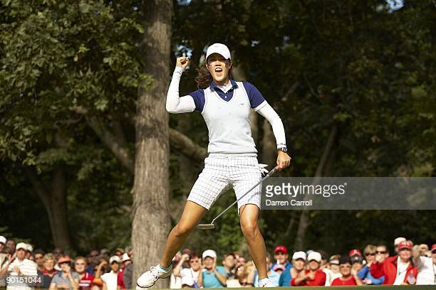 Solheim Cup USA Michelle Wie victorious during four ball matches during Saturday play at Rich Harvest Farms Sugar Grove IL 8/22/2009 CREDIT Darren...
