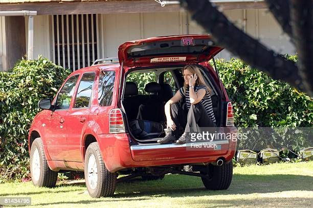 Golf Sony Open Golf Channel media announcer Kelly Tilghman sitting in van and talking on phone during Wednesday practice round at Waialae CC Honolulu...
