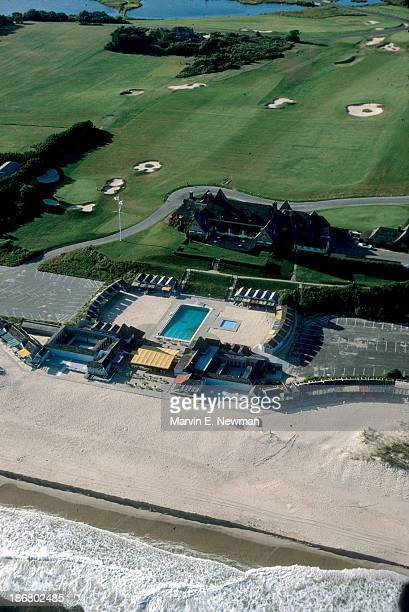 South Shore Courses Aerial scenic view of golf course 21 grass tennis courts swimming pool and cabanas facing Atlantic Ocean of Maidstone Club East...