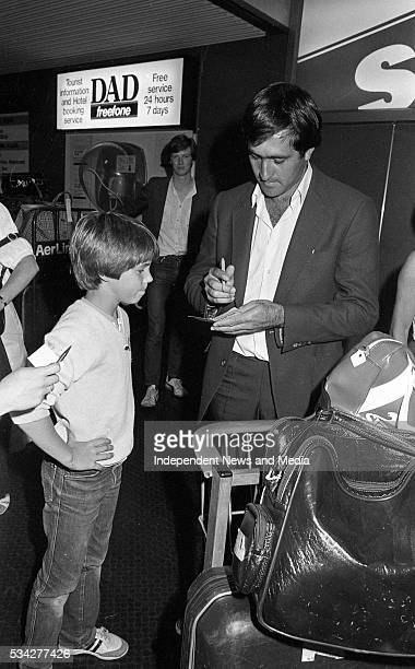 Golf Superstar Seve Ballesteros signs an autograph for Keith Murphy from Malahide when he arrived at Dublin Airport for the Carroll's Irish Open at...