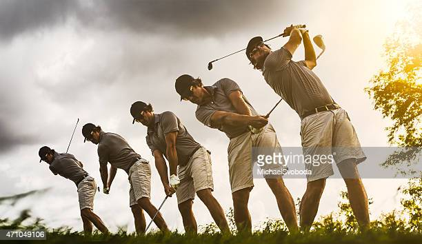 golf swing image sequence - golf swing stock pictures, royalty-free photos & images
