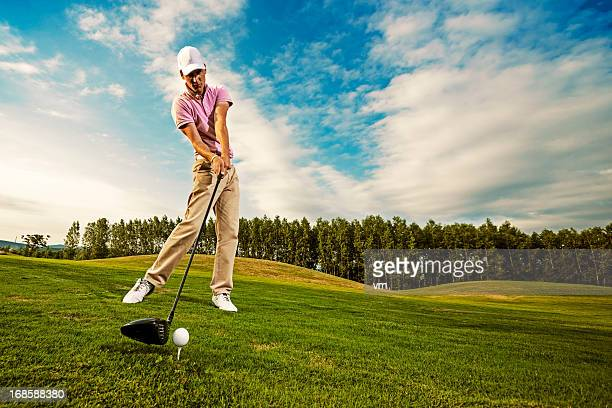 golf swing just before impact - golf swing stock pictures, royalty-free photos & images