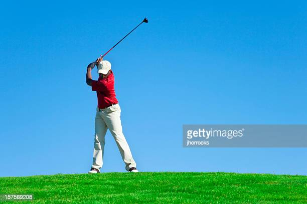 golf swing - teeing off stock pictures, royalty-free photos & images