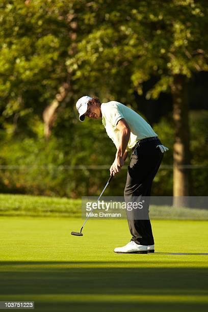 Adam Scott in action, putt during Friday play at Ridgewood CC. FedEx Cup. Paramus, NJ 8/27/2010 CREDIT: Mike Ehrmann