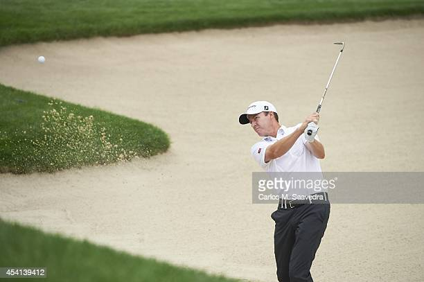 Jimmy Walker in action from sand during Friday play at Ridgewood CC. FedEx Cup. Paramus, NJ 8/22/2014 CREDIT: Carlos M. Saavedra