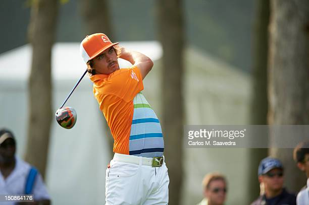 The Barclays Rickie Fowler in action drive from tee on No 12 during Friday play at Bethpage Black Course FedEx Cup Farmingdale NY CREDIT Carlos M...