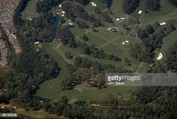 The Masters Aerial scenic view of Amen Corner No 11 No 12 and No 13 on Sunday at Augusta National Augusta GA 4/14/1996 CREDIT John Biever