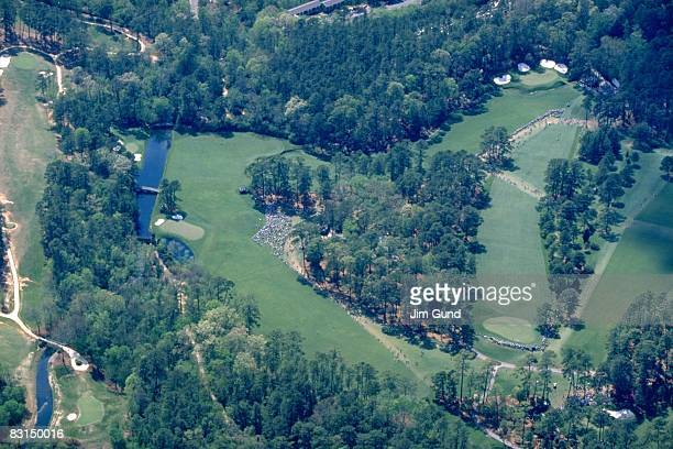 The Masters Aerial scenic view of Amen Corner No 11 No 12 and No 13 on Sunday at Augusta National Augusta GA 4/14/1996 CREDIT Jim Gund