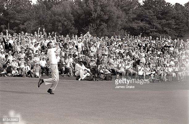 Golf The Masters Arnold Palmer in action at Augusta National Fans victorious Augusta GA 4/9/19644/12/1964