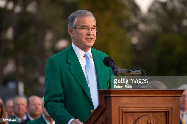 The Masters Augusta National Golf Club chairman Billy Payne at podium during green jacket ceremony after Sunday play at Augusta National Augusta GA...