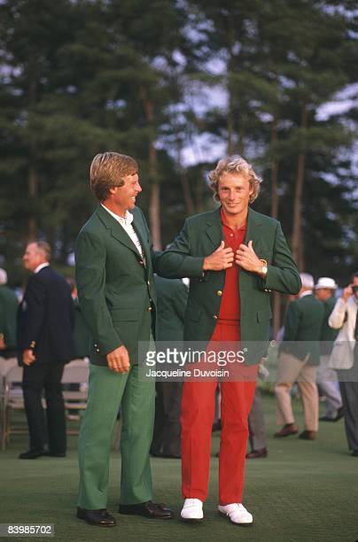 Ben Crenshaw and winner Bernhard Langer wearing green blazers at Augusta National Golf Course. Augusta, GA 4/14/1985 CREDIT: Jacqueline Duvoisin