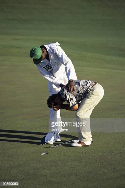 The Masters Ben Crenshaw victorious crying after winning tournament on Sunday as caddie Carl Jackson consoles at Augusta National Augusta GA 4/9/1995...