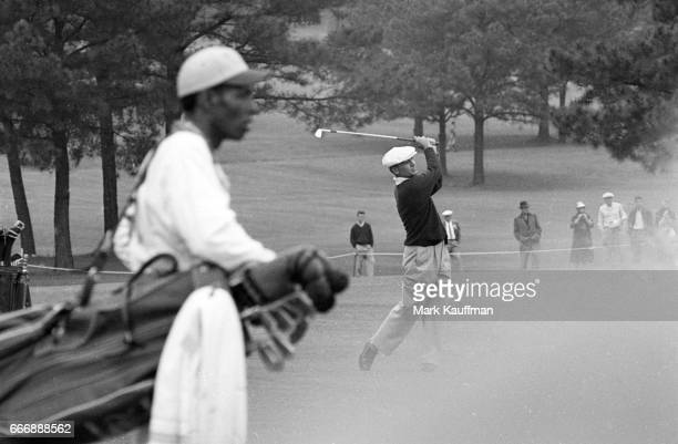 The Masters Ben Hogan in action with caddie in the foreground during Saturday play at Augusta National Augusta GA CREDIT Mark Kauffman