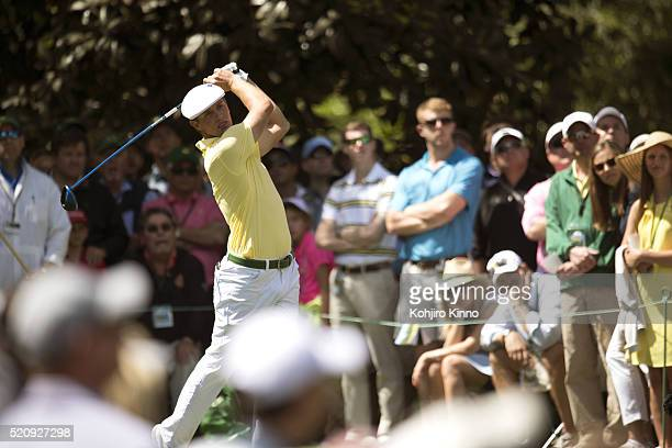 The Masters Bryson DeChambeau in action drive from No 17 tee during Friday play at Augusta National Augusta GA CREDIT Kohjiro Kinno