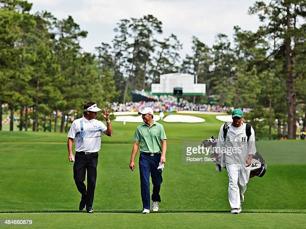 The Masters Bubba Watson and Jordan Spieth walk up to No 7 tee during Sunday play at Augusta National Augusta GA CREDIT Robert Beck