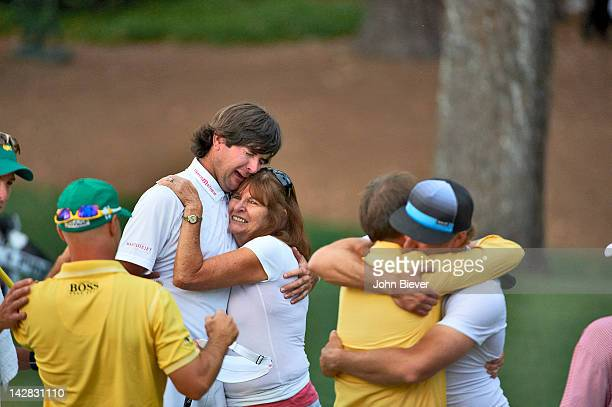 Bubba Watson victorious with mother Molly Marie Watson after winning tournament on Sunday on hole No 10 at Augusta National. Augusta, GA 4/8/2012...