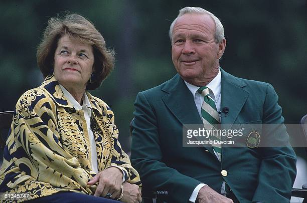 Golf: The Masters, Closeup of Arnold Palmer with wife Winnie Palmer during ceremony dedicating plaque honoring 1958 13th hole birdie at Augusta...