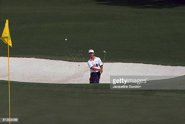 Golf The Masters Corey Pavin in action from sand on Thursday at Augusta National Augusta GA 4/9/1992