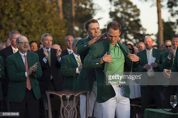 The Masters Danny Willett victorious putting on green blazer during jacket ceremony at after winning tournament Augusta National Augusta GA CREDIT...