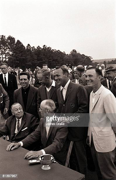 Golf The Masters Gary Player Jack Nicklaus and Arnold Palmer victorious with Bobby Jones during blazer ceremony after Sunday play at Augusta National...