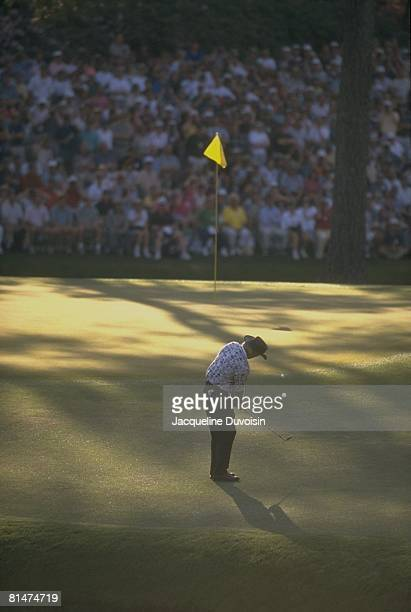 Golf: The Masters, Greg Norman in action, putt on Saturday at Augusta National, Augusta, GA 4/13/1996