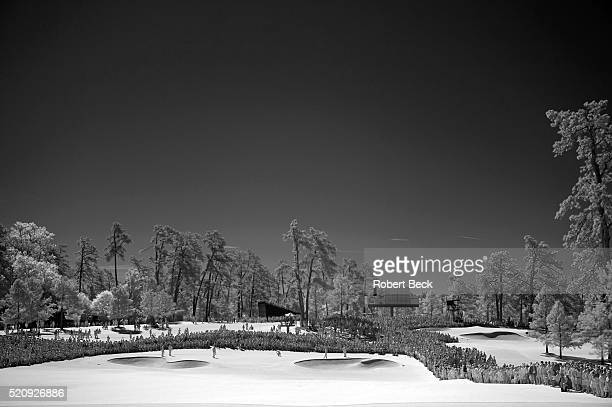 The Masters Infrared view of Jordan Spieth Bryson DeChambeau and Paul Casey on No 1 hole during Thursday play at Augusta National Scenic Augusta GA...