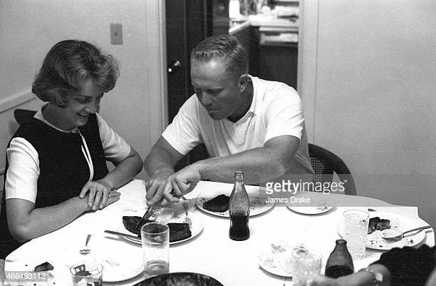The Masters Jack Nicklaus eating with wife Barbara after winning tournament Augusta GA CREDIT James Drake