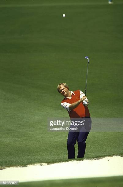 Golf: The Masters, Jack Nicklaus in action from sand at Augusta National, August, GA 4/11/1987