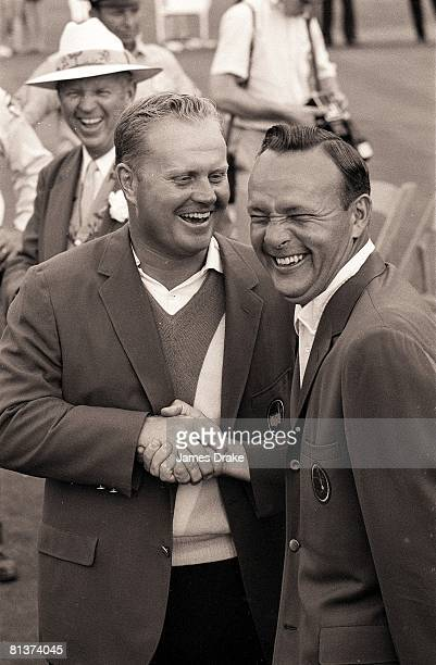 Golf The Masters Jack Nicklaus victorious with Arnold Palmer after Sunday at play Augusta National Augusta GA 4/12/1965