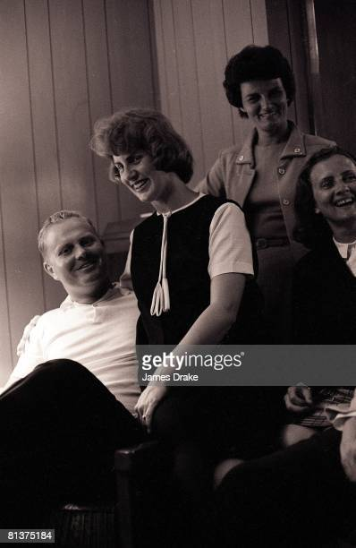 Golf The Masters Jack Nicklaus victorious with wife Barbara after winning Sunday play at Augusta National Augusta GA 4/12/1965