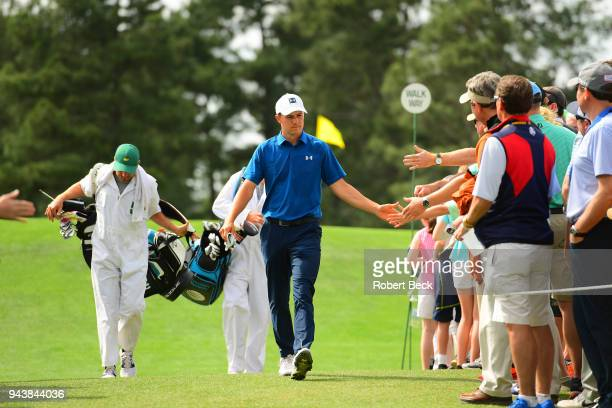 The Masters Jordan Spieth greeting fans during Friday play at Augusta National Augusta GA CREDIT Robert Beck