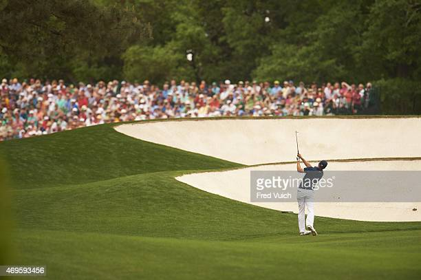 The Masters Jordan Spieth in action on No 5 hole during Sunday play at Augusta National Augusta GA CREDIT Fred Vuich