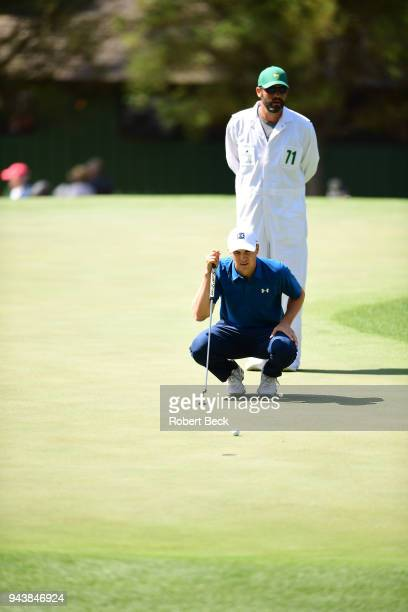 The Masters Jordan Spieth lining up putt during Friday play at Augusta National Augusta GA CREDIT Robert Beck