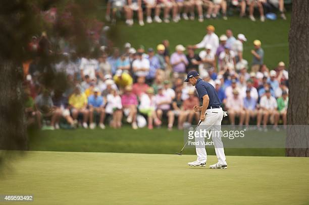 The Masters Jordan Spieth reacts on No 15 green during Sunday play at Augusta National Augusta GA CREDIT Fred Vuich