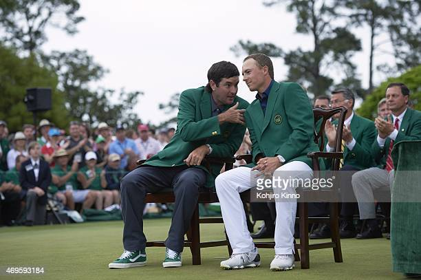 The Masters Jordan Spieth seated with Bubba Watson in green blazer during jacket ceremony after winning tournament on Sunday at Augusta National...