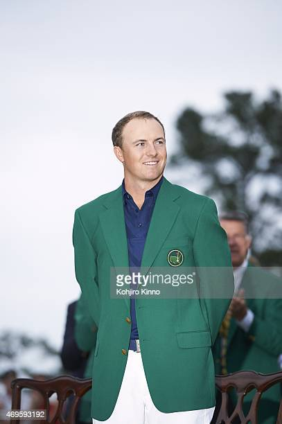 The Masters Jordan Spieth victorious in green blazer during jacket ceremony after winning tournament on Sunday at Augusta National Augusta GA CREDIT...