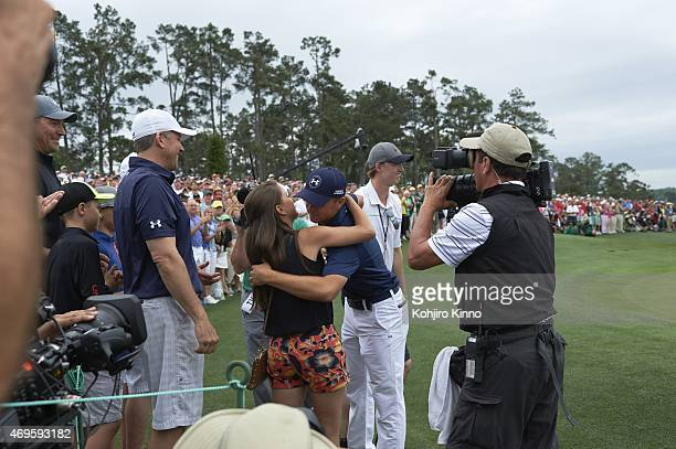 The Masters Jordan Spieth victorious with girlfriend Annie Verret after winning tournament on Sunday at Augusta National Augusta GA CREDIT Kohjiro...