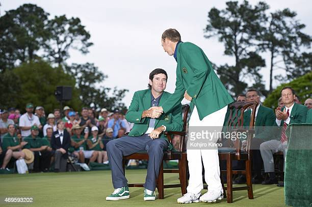 The Masters Jordan Spieth with Bubba Watson in green blazer during jacket ceremony after winning tournament on Sunday at Augusta National Augusta GA...