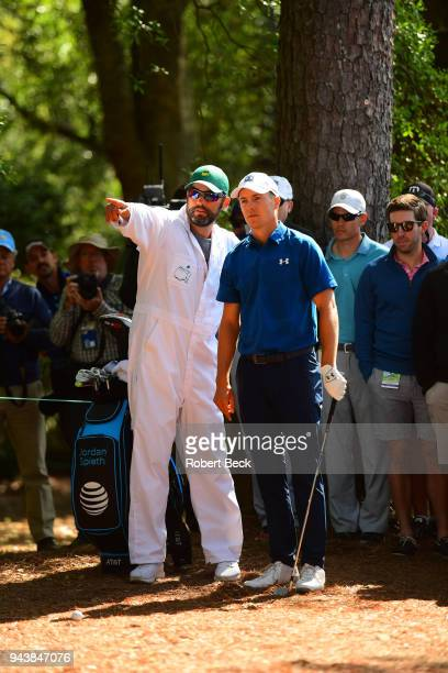 The Masters Jordan Spieth with caddie during Friday play at Augusta National Augusta GA CREDIT Robert Beck