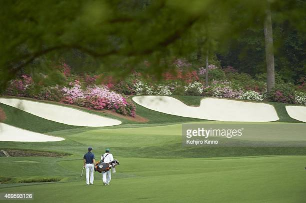 The Masters Jordan Spieth with caddie Michael Greller on No 13 hole during Sunday play at Augusta National Augusta GA CREDIT Kohjiro Kinno