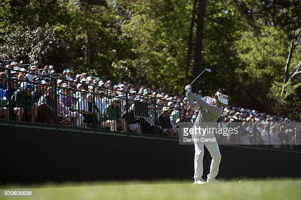 Kevin Na in action on No 16 hole during Saturday play at Augusta National. Augusta, GA 4/9/2016 CREDIT: Darren Carroll