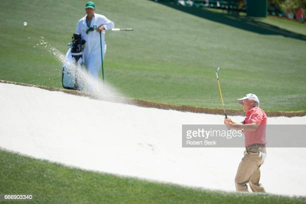 The Masters Larry Mize in action during Sunday play at Augusta National Augusta GA CREDIT Robert Beck