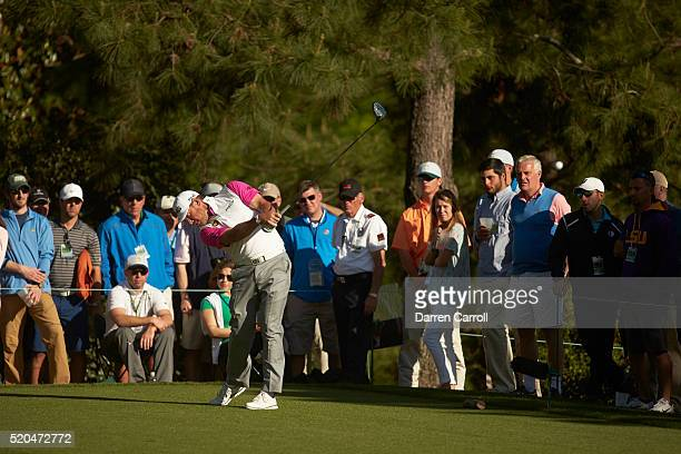 The Masters Lee Westwood in action on the No 18 hole during Sunday play at Augusta National Augusta GA CREDIT Darren Carroll